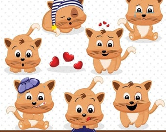 80% OFF SALE Kitty clipart, Cute Kitten clipart, Cat clipart, Emotions clipart, Scrapbooking clipart - CA420