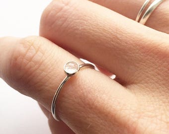 ROSE QUARTZ RING - Sterling Silver Bezel Set 4mm Pink Gemstone Ring  - Solitaire Semiprecious Stacking Ring