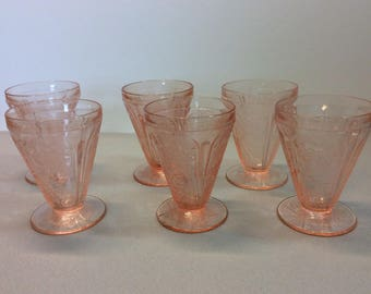 "6- Vintage Jeannette Glass Pink  "" Cherry Blossom"" Pattern Tumbler 4 oz. Footed"