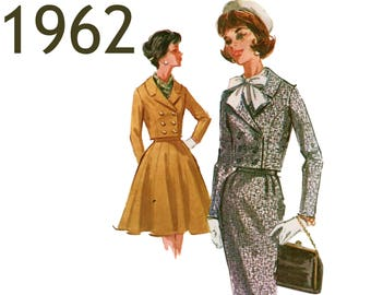 "Retro Skirt Suit Pattern Cropped Jacket McCALLS 6483 bust 36"" Wiggle Suit Retro Blouse Vintage Suit Pattern Gored Skirt 1960s Skirt Suit"
