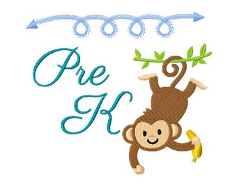Preschool Embroidery Design - Monkey Embroidery Design - Back to School Embroidery Design - First Day of School Embroidery - School Design