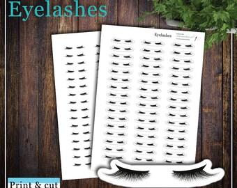 Eyelashes, Print & cut, SVG, FCM, ScanNCut, Silhouette, Happy planner, Cricut