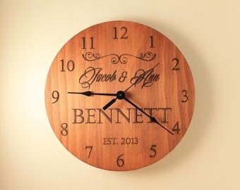 Pine Personalized wedding clock Custom clock Anniversary clock Wood clock Wall clock Wooden wall clock Family name clock Laser engraved
