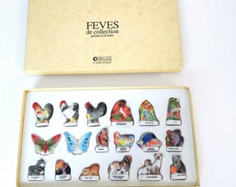 set of 18 french feves Atlas Edition, 1991, animal feves