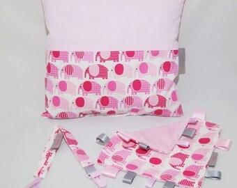 Baby elephant, blanket clip tettine and cushion gift