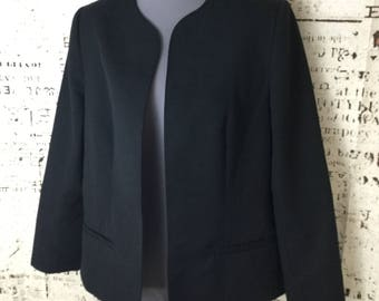 Vintage Pykettes Womens Blazer Jacket Size 12 Open Front Black 1980's Made in the USA