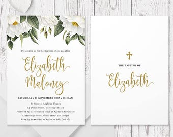 Gold and White Flower Christening or Baptism Invitation, Foliage, White Florals Invites, Professionally Printed, Peach Perfect Australia
