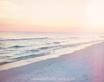 Pastel Sunset Photo, Beach Sunset Photo, Bathroom Art Print, Girls Nursery Art, Pink Beach Photography, Soft Beach Art, Pastel Wall Canvas