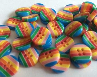 13mm rainbow stripe buttons, 4 hole, plastic x 10