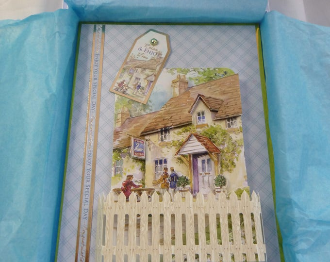 Village Pub Scene, 3D Decoupage Card, Greeting Card, Country Pub, Male, Any Age, Dad, Brother, Son, Uncle, Nephew,