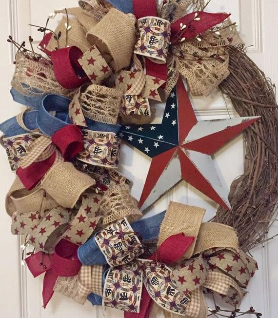 Americana Star Grapevine Wreath with Pip Berries; America Wreath; Patriotic Decor; Fourth of July Memorial Day Labor Day Decor Wreath