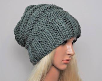 Grunge hat, Green slouchy hat, Handknit beanie,  Slouchy beanie women, Knit beanie, hand knit beanie, Bamboo  slouch beanie, Green Beanie.