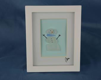 Seaglass snowman, seaglass art, 4in x 5in framed color seaglass, coastal decor