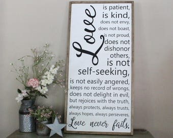 Love is Patient Love is Kind Sign, Love Never Fails Framed Sign, 1 Corinthians 13:4, Scripture Home Decor, Bible Verse Wall Art, Wood Sign