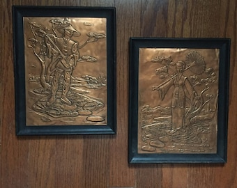 Oriental Man And Woman Copper Relief Framed Wall Hangings Decor Mid Century Style Hollywood Regency