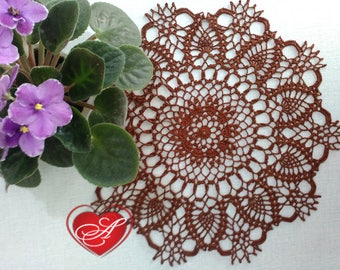 FREE SHIPPING, Doily, Crochet central part, cotton, brown thread, home decor, desktop decor, round, relic quality, mother's day
