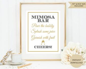 Mimosa bar sign (INSTANT DOWNLOAD)  - Mimosa bar printable - Champagne bar sign - Mimosa sign - Printable signs SB001