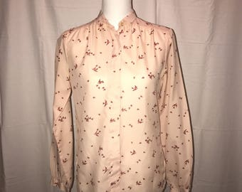 Vintage 1970's Bird Blouse / tags hard to read