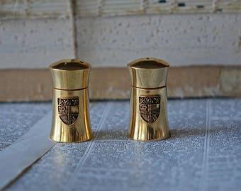 Vintage mini salt & pepper shakers - brass