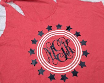 Women's fourth of July tank, monogrammed patriotic tee, fourth of July shirt, monogrammed fourth of July tank, women's shirts, patriotic