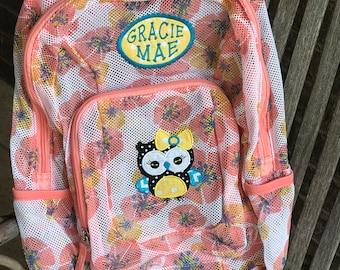 Monogrammed Backpack | Mesh Backpack | Back to School | Girls Backpack | Owl Backpack | Embroidered Backpack | Aqua Backpack | Owl Bag | Bag