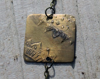 Etched brass bracelet