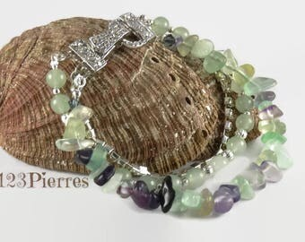 Bracelet gemstones, irregular fluorite and green aventurine, rhinestones and beautiful magnetic clasp - Unique bracelet made just for you