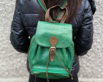 HandMade GREEN LEATHER BACKPACK green backpack woman backpack men backpack small backpack travel backpack city backpack unisex backpack