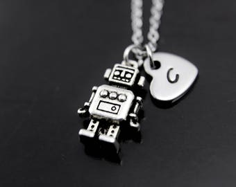Robotics Engineer Gift Robot Necklace Silver Robot Charm Necklace Robot Charm Robot Jewelry Geek Jewelry Personalized Necklace Initial Charm