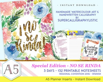 No Se Rinda-Convention Notebook-Handmade Watercolour Art-Supercalligraphylistic-INSTANT DOWNLOAD - 132 printable pages - Spanish