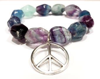 peace sign charm bracelet, rainbow fluorite bracelet, chunky gemstone bracelets, purple gemstone bracelet, hippie bracelets for women