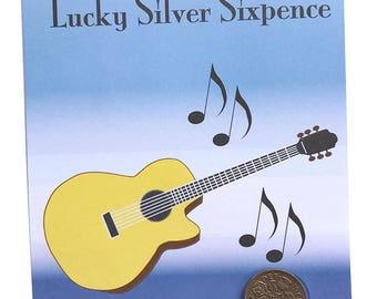 Guitar Pick / Plectrum LUCKY SILVER SIXPENCE Fun Gift or Greetings Card, Free U.K. 1st Class Post