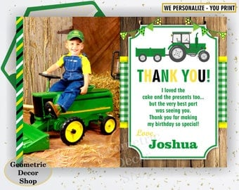 Tractor Thank you card Farm Birthday Party card Digital Party Printable Photo Photograph THTractor1