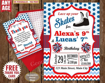 Hockey / Birthday / Cheerleader / Pom Pom / Blue / Red / Invite / Invitation / boy / girl / double / dual / combined / joint / twins /BDH1