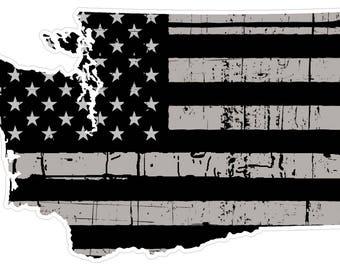 Washington State (N47) Distressed Flag Vinyl Decal Sticker Car/Truck Laptop/Netbook Window