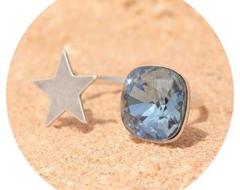 artjany denim blue silver ring