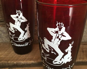 Pair of Vintage Ruby Red Anchor Hocking Tumblers, Partners All Glasses, Vintage 1950's Drinking Glasses