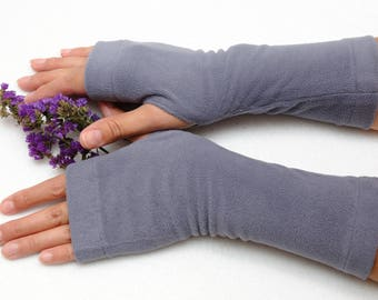Fingerless gloves Womens Gift for her Wife gift for girlfriend gift Wrist warmers Jersey Tattoo cover Gray fingerless mitts wrist warmers