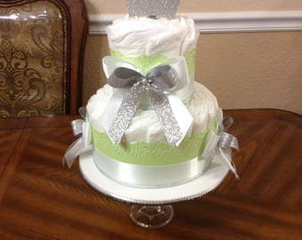 Elegant Green and Gold Diaper Cake/Neutral Baby Shower/ Boy Baby Shower/Girl Baby Shower/ Baby Shower Centerpiece/ 2 Tier Diaper Cake/Baby.