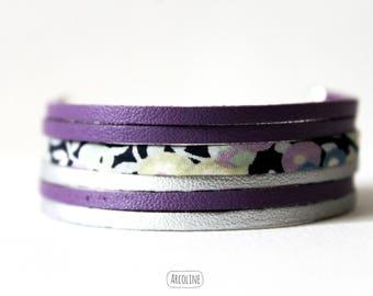 Bracelet Liberty ° multi-row ° ° ° suede Silver (purple)