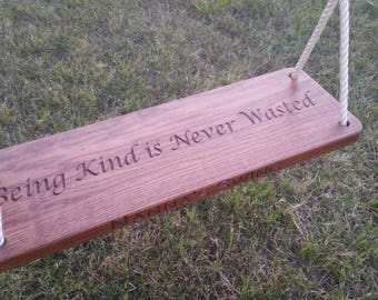 Custom Engraved Wood Tree Swing Solid Oak with Personalized Edge