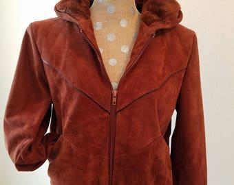 Vintage Wilsons Suede Jacket, vintage suede bomber jacket,1970s suede jacket,womens suede jacket,rust color suede jacket,hooded suede jacket