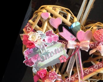 Decorated wooden heart. Valentine's day or for a wedding