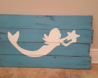 Mermaid Wood Pallet Sign