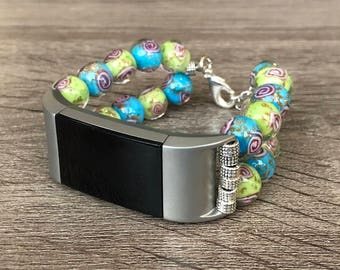 Murano Glass Jewelry Bracelet for Fitbit Charge 2 Fitness Activity Tracker Handmade Green & Turquoise Color Venice Glass Luxury Bracelet