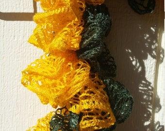 RTS: Green and Yellow Ruffle Crochet Scarf
