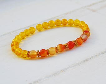 Citrine Mala Beads, Citrine Bracelet, Carnelian Mala Bracelet, Wrist Mala Beads, Boho Gemstone Bracelet, Yoga Bracelet, Spiritual Jewelry