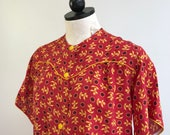 SALE!! 1940s Loungewear Set. Size Medium. 40s Rayon Pant Set. 1940s Pajama Set. 1940s Asian Novelty Rayon Pajamas. 40s Loungewear.
