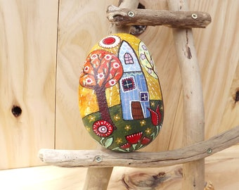 Painted rock unique rustic decoration, gift for her Christmas, birthday paperweight, garden decoration folk art little house children story