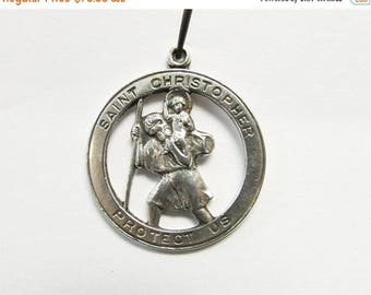 On Sale Vintage Estate Sterling Silver Chapel Saint Christopher Pendant